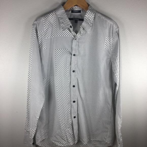 c45c74f897 Carbon Shirts | Slim Fit Button Shirt White Polka Dot Black | Poshmark